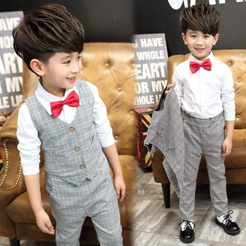 2017 New Gentle Boys Autumn Plaid Formal Wedding Suits Brand Top Quality Flower Boys Plaid Suit Kids Spring Tuxedos Blazers