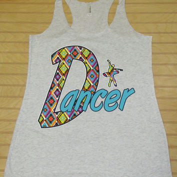 Tri Blend Racerback Tank Top Dancer Multi Color Diamonds Pattern