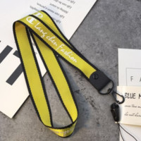Champion Fashion new letter print long and wide key hanging neck mobile phone lanyard Yellow