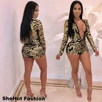 Women Sexy Black/Gold Long Sleeve Deep V-Neck Jumpsuit Romper