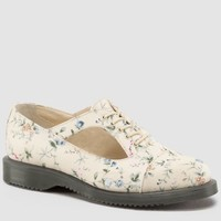 Dr Martens Carrie Shoe BUFF WILD FLOWERS CANVAS - Doc Martens Boots and Shoes