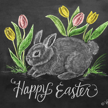 Happy Easter Card - Easter Bunny Card - Tulip Card - Chalkboard Art - Hand Lettering - Easter Illustration