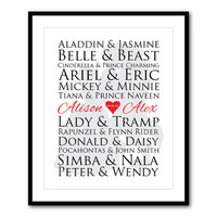 Customizable Disney couples print - sizable print for Disney lovers - Wedding gift - typography - decor - Beauty and the Beast silhouette