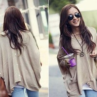 Korea Fashion Women's Casual Loose Big Skull Long Cool Knit Sweater Cardigans