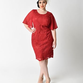 Plus Size 1930s Style Wine Red Angel Sleeve Lace Flapper Dress