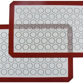 "Homankit Silicone Baking Mat, Set of 2 Half Sheet (11 5/8"" x 16 1/2"") - Non Stick Silicon Liner for Bake Pans & Rolling - Macaron/Pastry/Cookie/Bun/Bread Making"