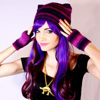 Purple & Pink Ombre Fade Kitty Ear Beanie And Mitten Set - Crocheted Cat Ear Hat w/ Matching Fingerless Gloves Wrist Warmers