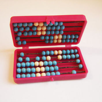 Plastic Abacus in original plastic red box, Soviet Plastic Toy, Kids toy, Vintage calculator, USSR 1970's. Vintage toy, Made in USSR