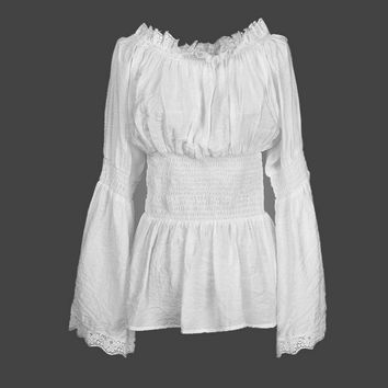 Large size women lace white cotton shirt