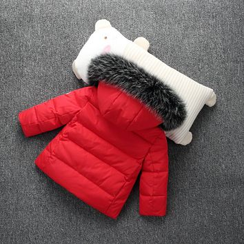 Winter Fashion Kids Solid Down Coat for Boys Girls Super Warm Duck Down Jacket Hooded Fur Children Outwear