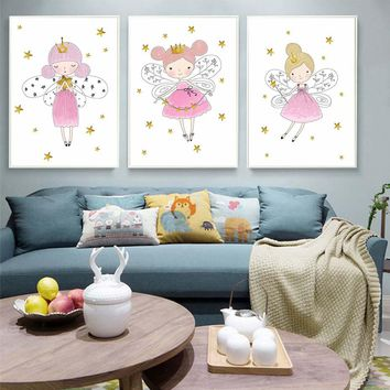 Cartoon Crown Girl Canvas Painting Nordic Art Poster Nursery Wall Murals For Kids Baby Rooms Scandinavian Home Decor No frame