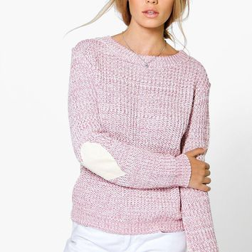 Harper Heart Elbow Patch Jumper | Boohoo