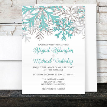 Winter Wedding Invitations - Teal Silver Snowflakes on White - Printed Invitations