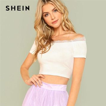 SHEIN White Lace Insert Crop Bardot Top Off The Shoulder Short Sleeve