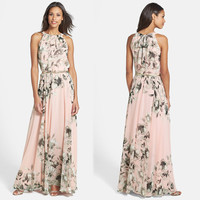 Pink Floral Print Back Ribbon Halterneck High-Waisted Chiffon Maxi Dress