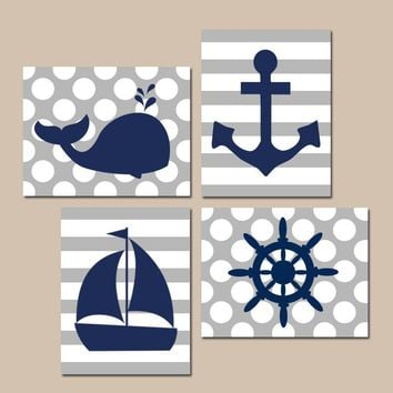 BOY NAUTICAL Wall Art, Baby Boy Nursery Decor, Ocean Bathroom Decor, Whale Anchor Sailboat Wheel, CANVAS or Prints, Set of 4 Stripes Dots