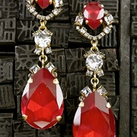 Erickson Beamon Red Chandelier Earrings