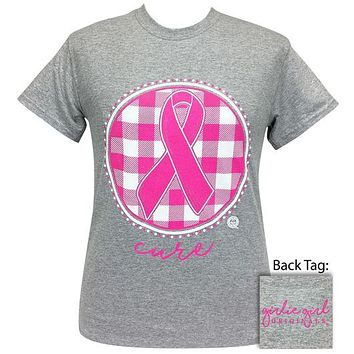 Girlie Girl Originals Preppy Cancer Cure Ribbon Plaid T-Shirt