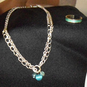 Vintage Anklet and Toe Ring, fashion jewelry, ankle bracelet, opalescent turquoise blue