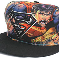 Superman Super Hero Snapback Flat Bill Warner Bros DC Comics Hat Cap, One Size Fits All