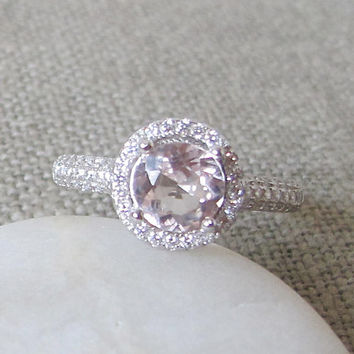 Morganite Halo Engagement Ring- Promise Ring- Gemstone Ring- Round Wedding Ring- Bridal Ring-Halo Ring- Stone Ring- Anniversary Ring- Ring