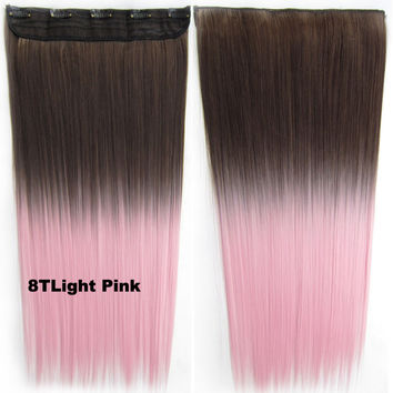 "Dip dye hairpieces New Fashion 24"" Women Clip in on gradient wig Bath & Beauty Hair Ombre Hair Extensions Two Tone Straight hair Gradient Hair Extension Colorful Hairpieces GS-666 8 T Light Pink,1PCS"