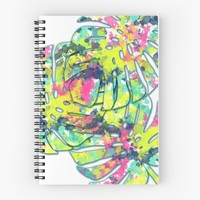 'Splatter Monsteras #redbubble ' Spiral Notebook by designdn