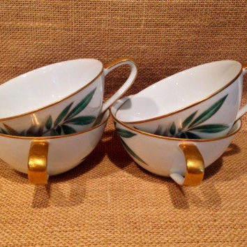 Set of 4 Noritake Bamboo design tea cups