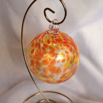 Hand Blown Glass Christmas Ornament / Witch Ball with Rare Double Bubble