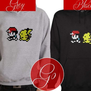 Pokemon Ash N Pikachu Hoodie Sweatshirt Sweater Shirt black and white Unisex