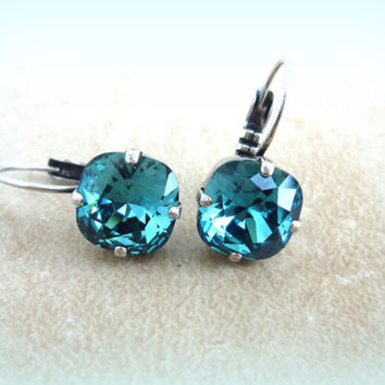 NEW Swarovski 10mm golf size crystal lever-back earrings - Indicolite - blue  designer inspired crystal earrings by Siggy