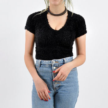 90's Fluffy Black Grunge Top xs/s small extra small