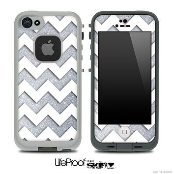 Large Silver Sparkle Print with White Chevron Pattern Skin for the iPhone 5 or 4/4s LifeProof Case