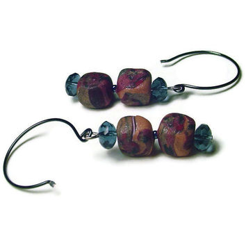 Polymer Clay Earrings Brown Earrings with Square by BrandonArtists