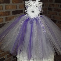 Shimmering Purple White Tutu Dress w/Zebra Accents-1st-Birthday-Gift-Baby Shower-Newborn-Photo-Baby/Toddler/Infant/Girl-Unique,Pretty,