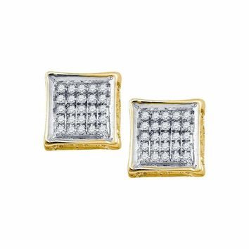 10kt Yellow Gold Mens Round Diamond Square Cluster Stud Earrings 1-8 Cttw - FREE Shipping (US/CAN)