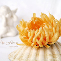 Yellow flower brooch Floral corsage broach Silk chrysanthemum Yellow wedding Gift for her Flower hair clip Bridal hair piece Silk flower pin