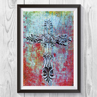 Cross Art Print, Christian Wall Art, Religious Cross Print, Cross Collage Art, Religious Crucifix, Cross Of Jesus Print