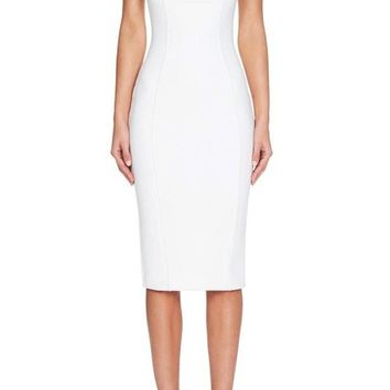 Rooftop Party White Sleeveless Spaghetti Strap Square Neck Bodycon Bandage Midi Dress