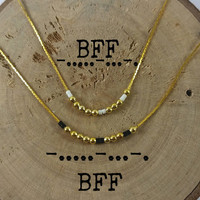 BFF Morse Code Necklaces, Secret Message, Dainty necklace, Minimalist, Morse code jewelry, gold necklace, BFF gift, Friends gift