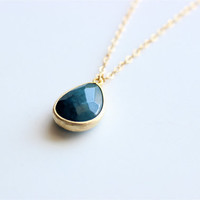 "Gold Necklace - Navy Blue Jade Necklace - Stone Necklace - 24"" - Navy Blue Jade Glass Stone Pendant on Matte Gold Chain"