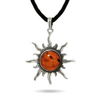 Sterling Silver Jewelry - Sterling Silver Baltic Amber Sun Pendant