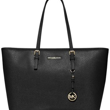 PEAPON Michael Kors Jet Set Leather Medium Travel Tote, Black