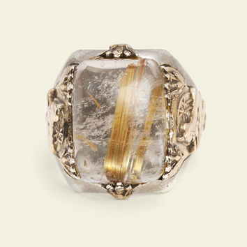 Men's Egyptian Revival Ring with Rutilated Quartz