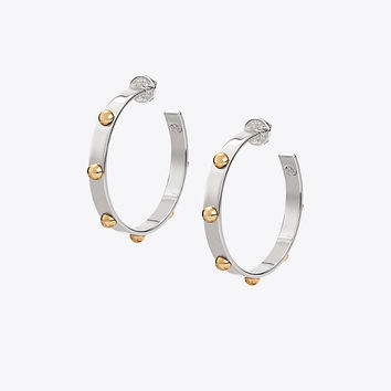 Tory Burch Studded Hoop Earring