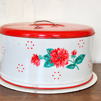 Vintage Red Metal Cake Carrier with Handle, Red Flower and Polka-dot Design