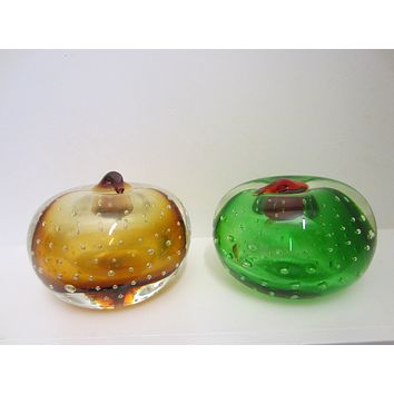 Osewego Country Store Green And Gold Glass Fruits Paperweights Controlled Bubbles