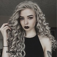 Gray waist length curly Synthetic Lace Wig-SNY068 - Home - DonaLoveHair