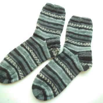 Hand knit multicolor casual unisex socks, swollen feet socks, Unisex socks, Winter socks.,Unique socks, House socks, Boot socks