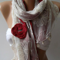Shabby Chic - Georgeus Scarf Elegance Scarf Feminine Scarf....Cotton and Tulle fabric.